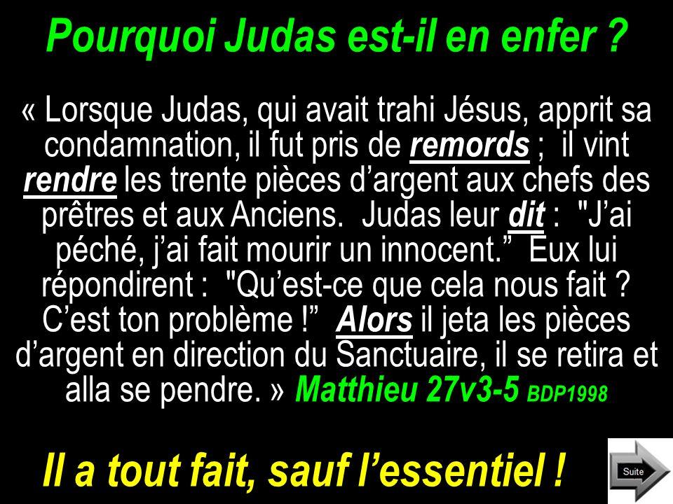 Pourquoi Judas est-il en enfer