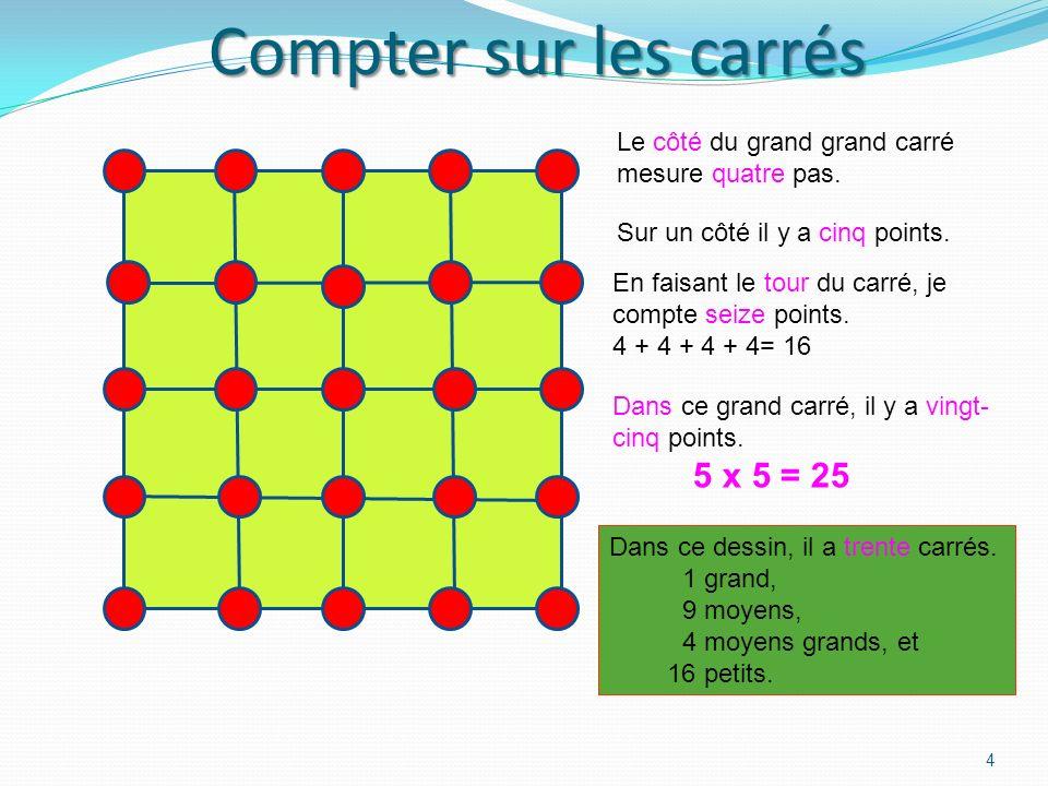 Compter sur les carrés Le côté du grand grand carré mesure quatre pas.
