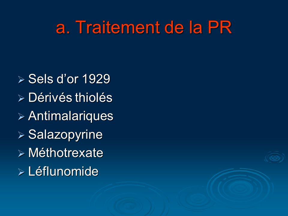 a. Traitement de la PR Sels d'or 1929 Dérivés thiolés Antimalariques