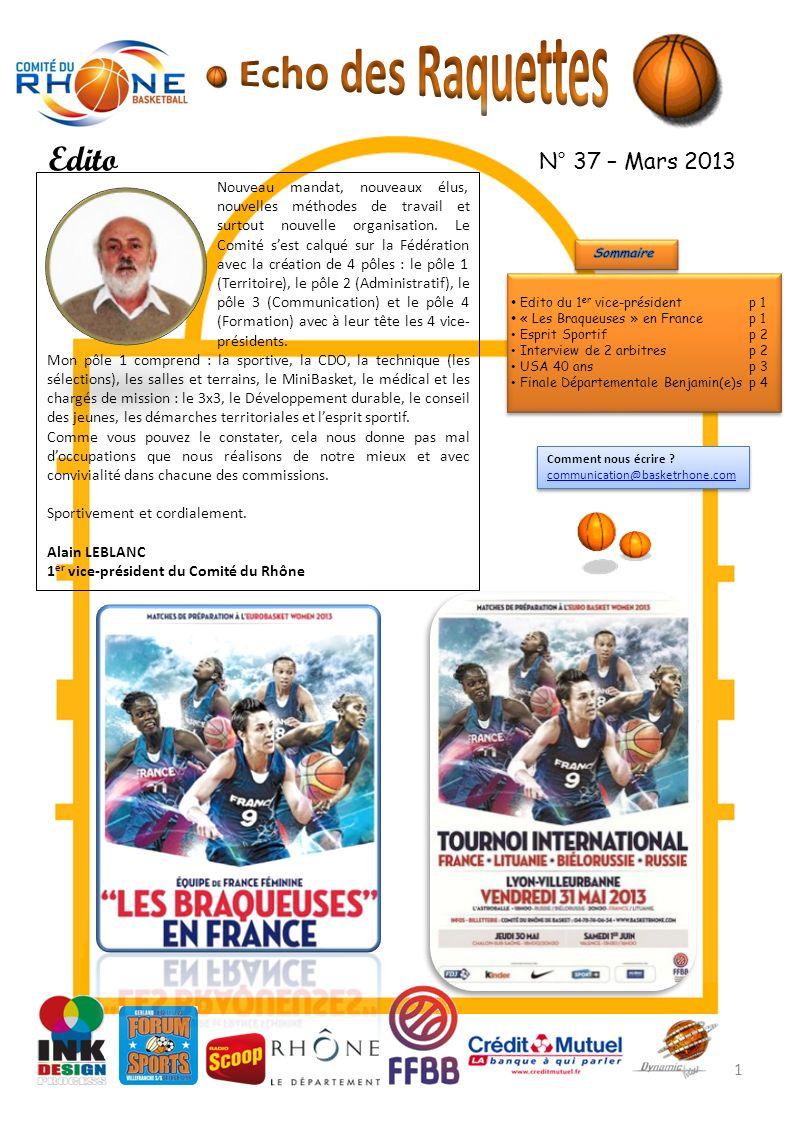 Echo des Raquettes Edito N° 37 – Mars 2013
