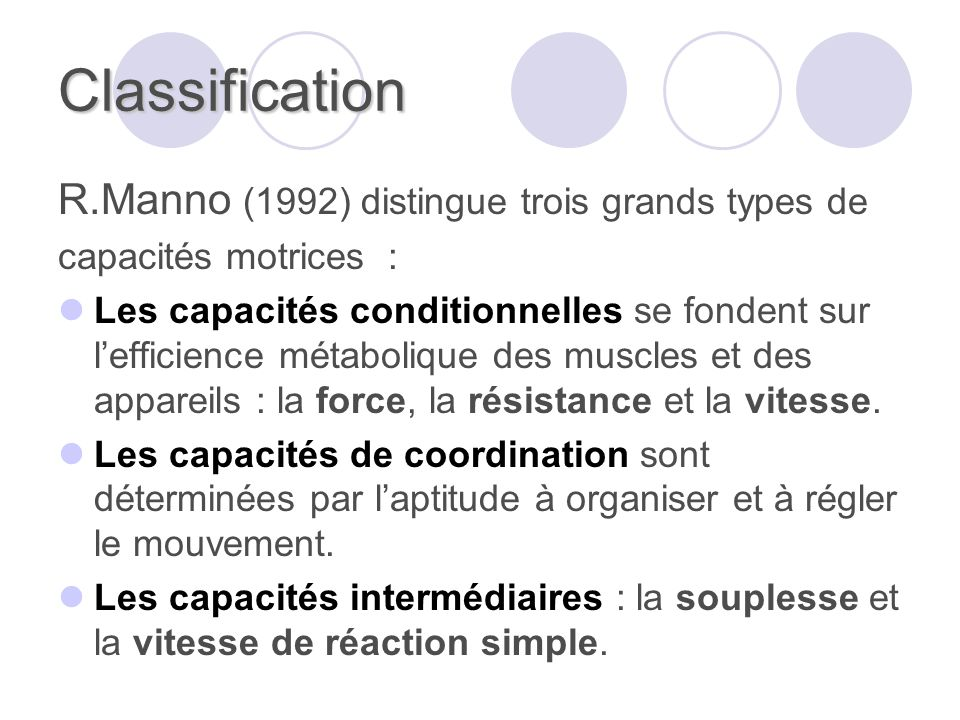 Classification R.Manno (1992) distingue trois grands types de