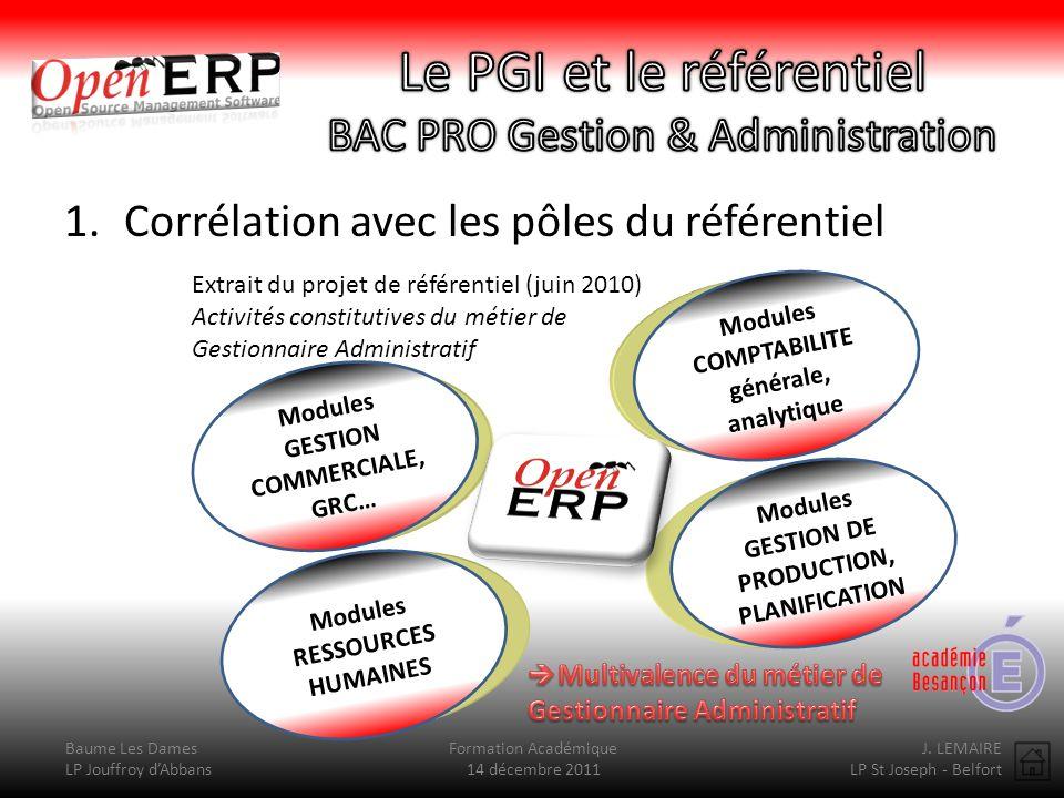 Le PGI et le référentiel BAC PRO Gestion & Administration