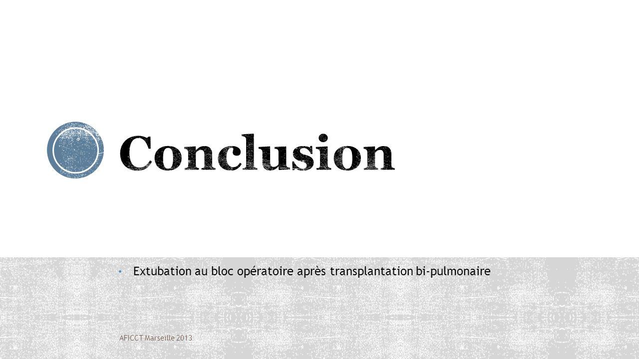 Conclusion Extubation au bloc opératoire après transplantation bi-pulmonaire AFICCT Marseille 2013