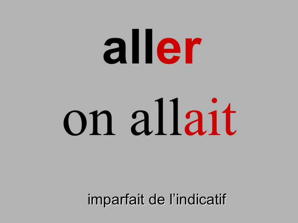 aller on allait finir imparfait de l'indicatif