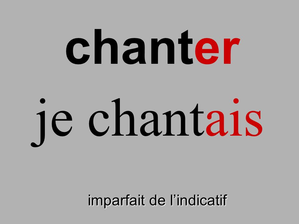 chanter je chantais finir imparfait de l'indicatif