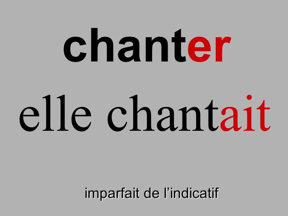 chanter elle chantait finir imparfait de l'indicatif
