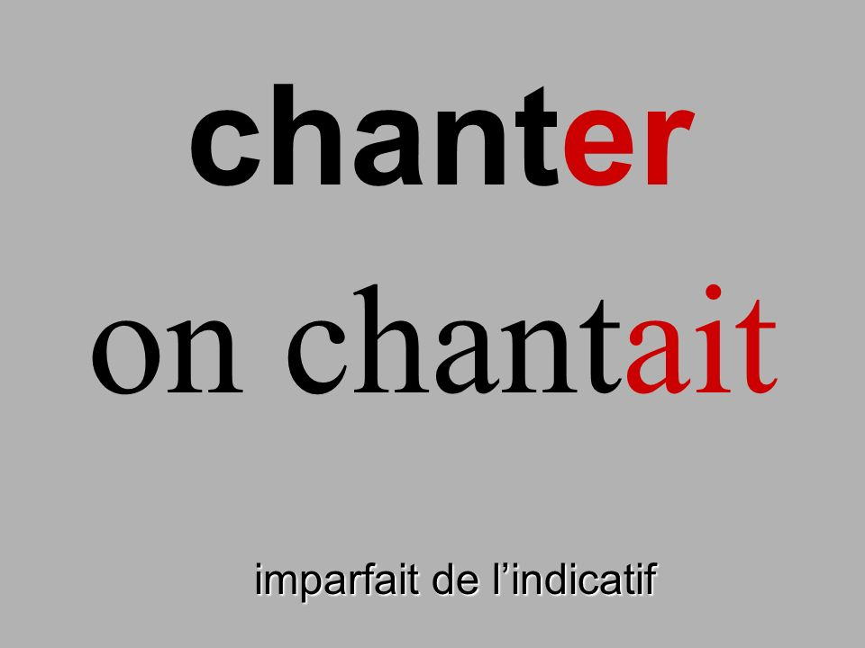 chanter on chantait finir imparfait de l'indicatif