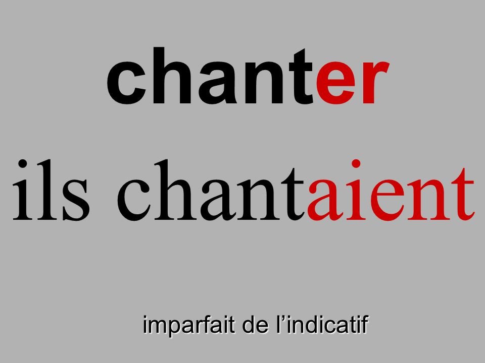 chanter ils chantaient finir imparfait de l'indicatif