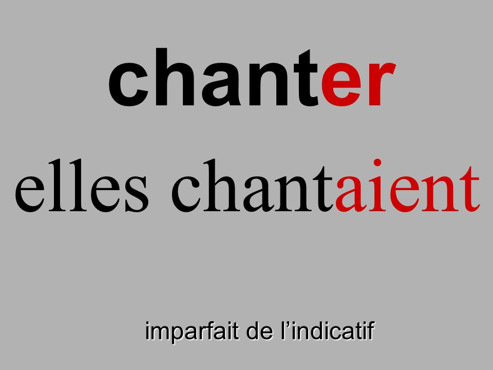 chanter elles chantaient finir imparfait de l'indicatif