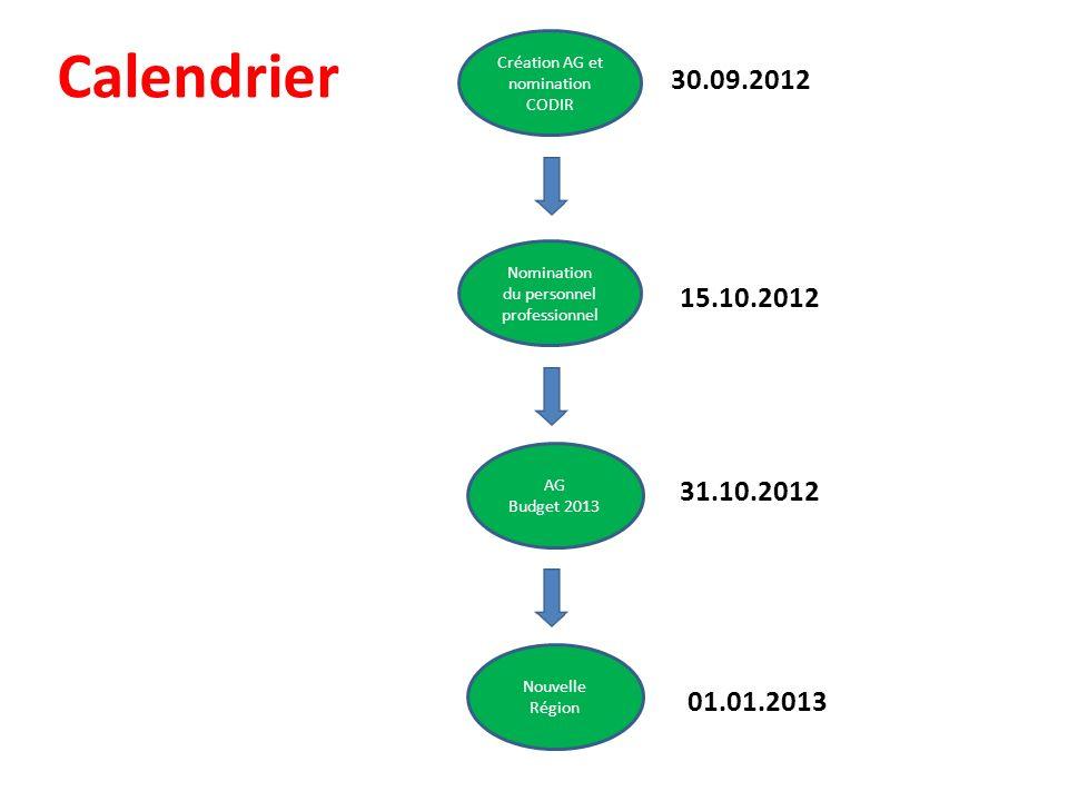 Calendrier Création AG et nomination CODIR. 30.09.2012. Nomination du personnel professionnel. 15.10.2012.