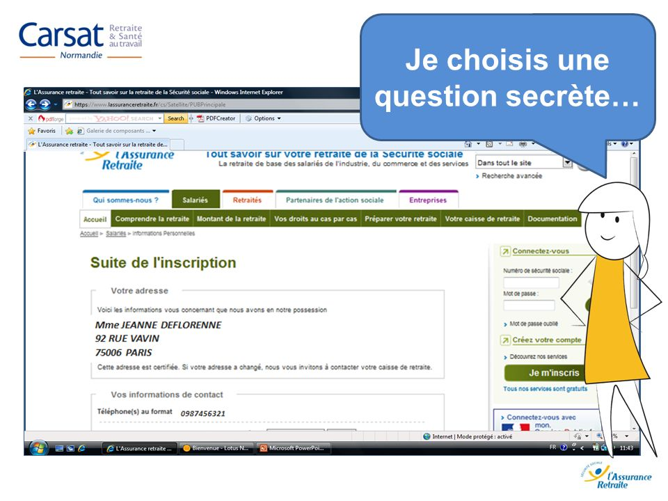 Je choisis une question secrète…