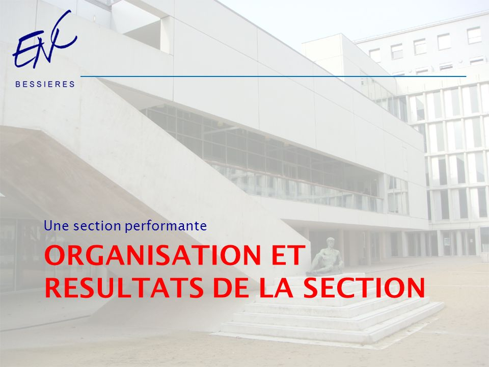Organisation et RESULTATS de la section