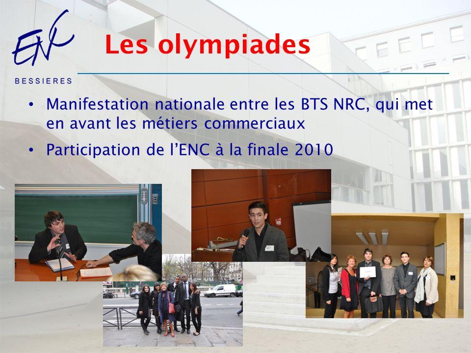Les olympiades Manifestation nationale entre les BTS NRC, qui met en avant les métiers commerciaux.