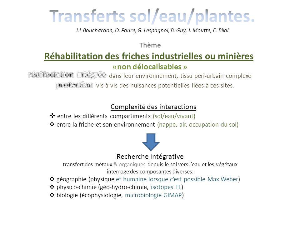 Transferts sol/eau/plantes. J. L Bouchardon, O. Faure, G. Lespagnol, B