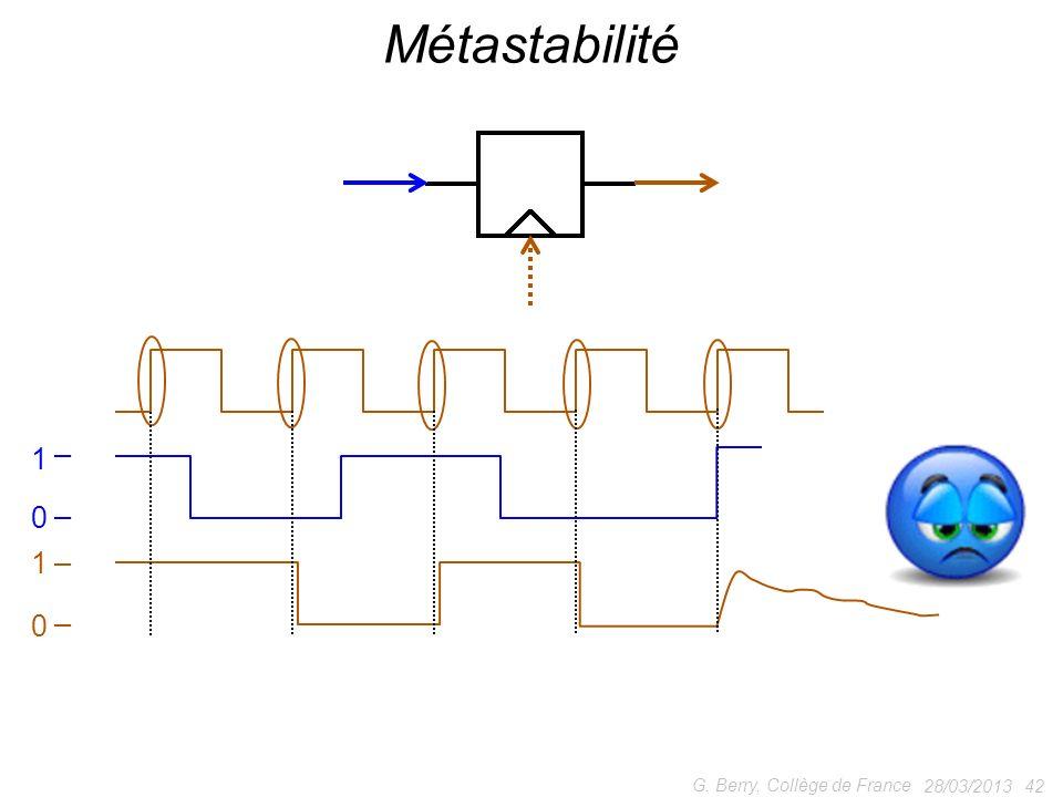 Métastabilité 1 1 G. Berry, Collège de France 28/03/2013