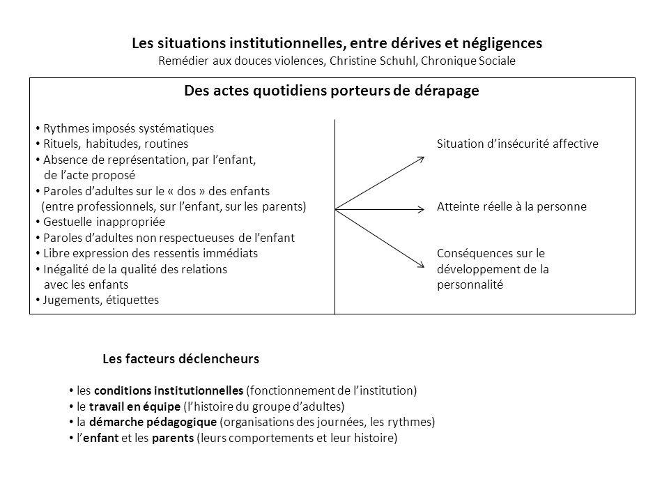 Les situations institutionnelles, entre dérives et négligences