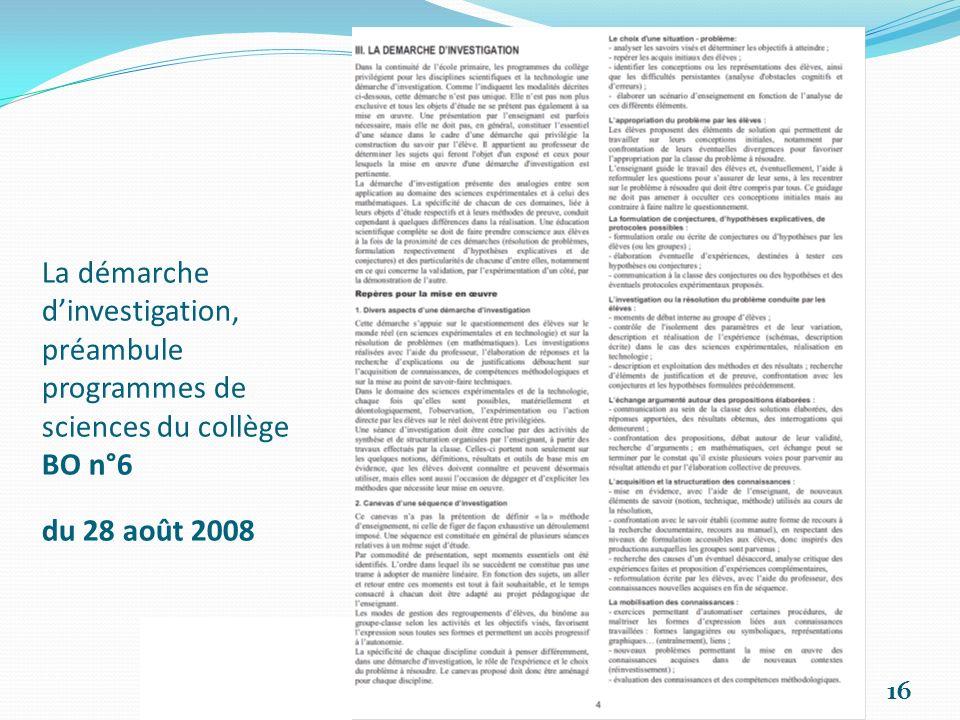 La démarche d'investigation, préambule programmes de sciences du collège BO n°6 du 28 août 2008