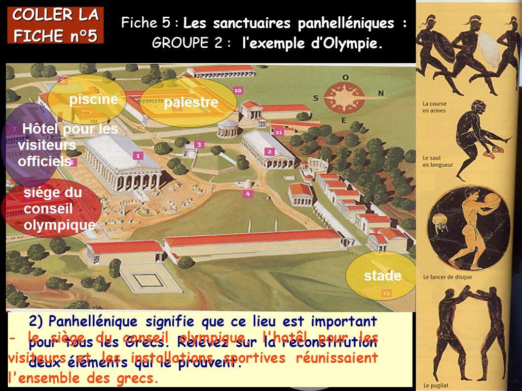 COLLER LA FICHE n°5 L Fiche 5 : Les sanctuaires panhelléniques :