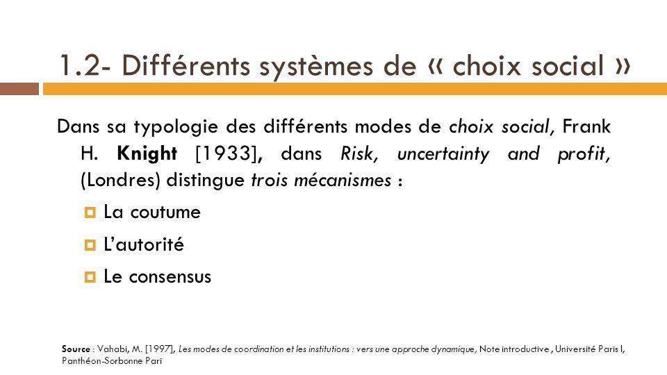 1.2- Différents systèmes de « choix social »