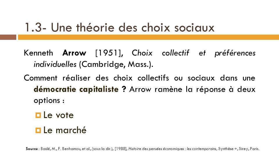 1.3- Une théorie des choix sociaux