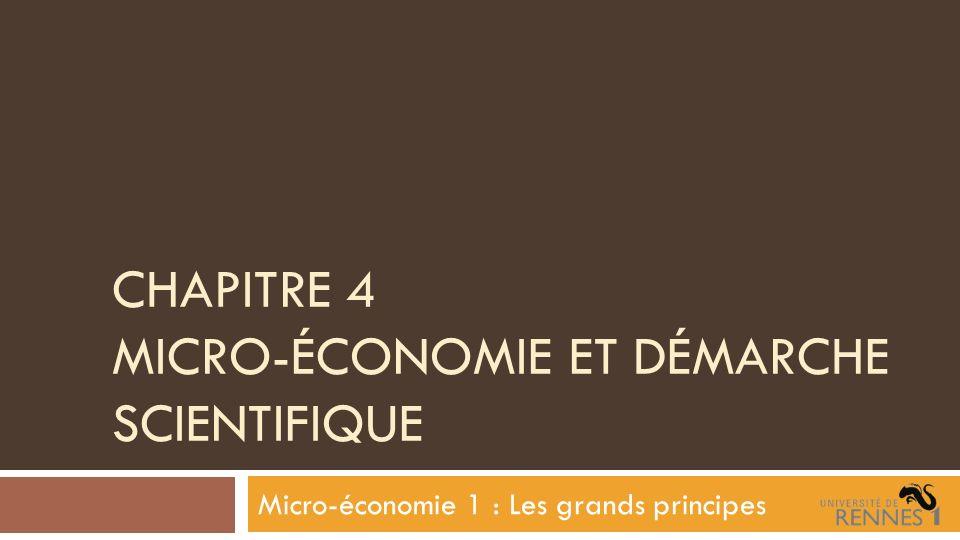 Chapitre 4 Micro-économie et démarche scientifique