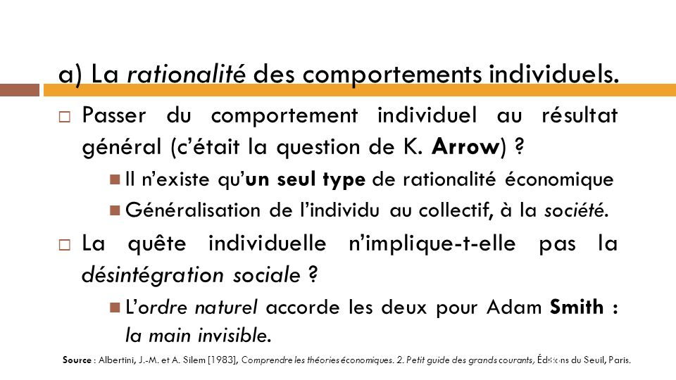 a) La rationalité des comportements individuels.