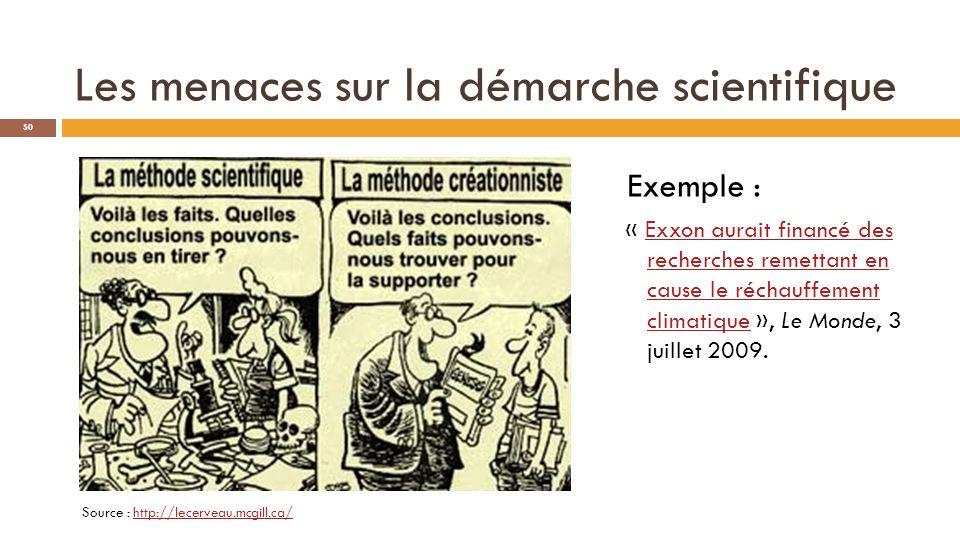 Les menaces sur la démarche scientifique