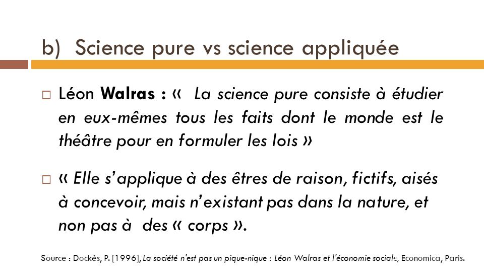 b) Science pure vs science appliquée