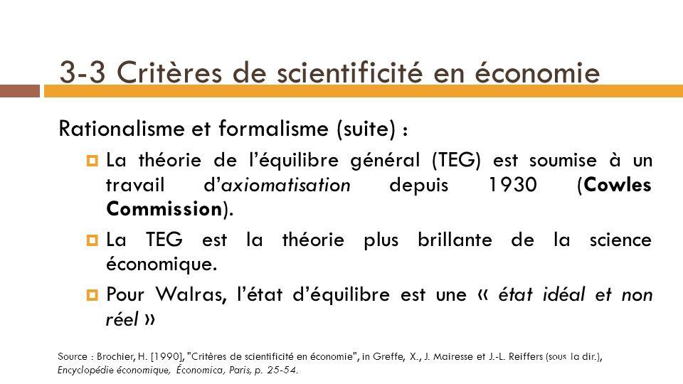 3-3 Critères de scientificité en économie