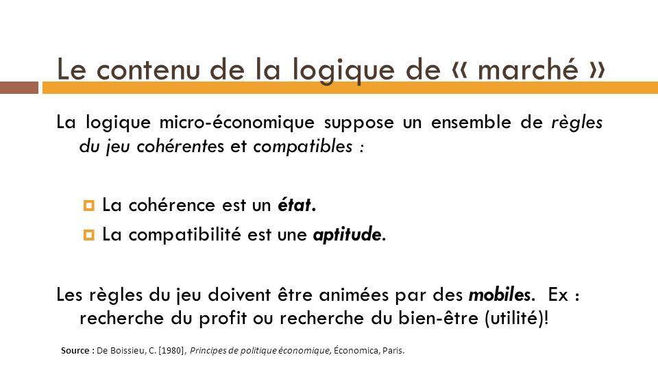 Le contenu de la logique de « marché »
