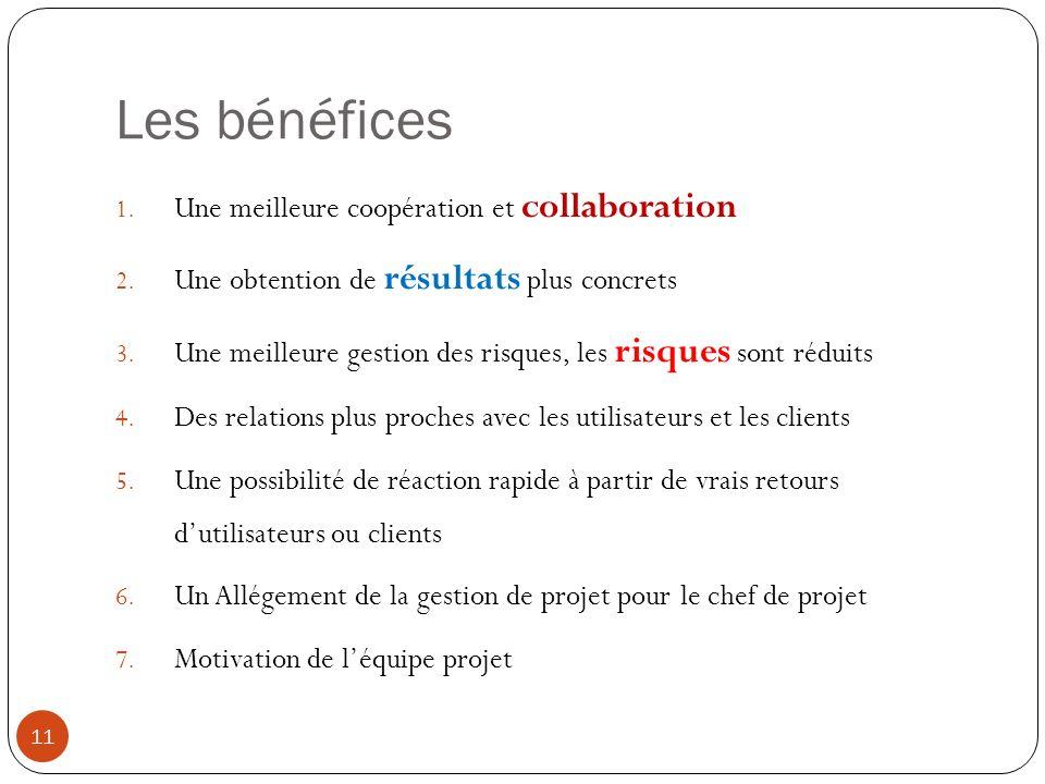 Les bénéfices Une meilleure coopération et collaboration