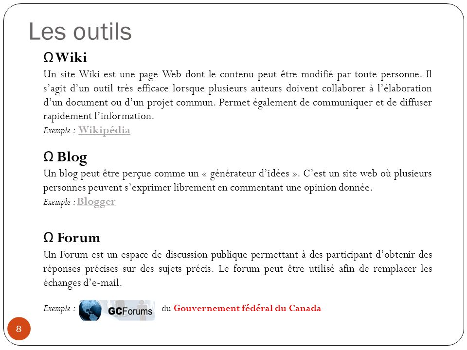 Les outils Wiki Blog Forum
