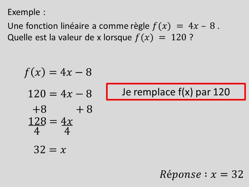 𝑓 𝑥 =4𝑥−8 Je remplace f(x) par 120 120=4𝑥−8 +8 +8 128=4𝑥 4 4 32=𝑥