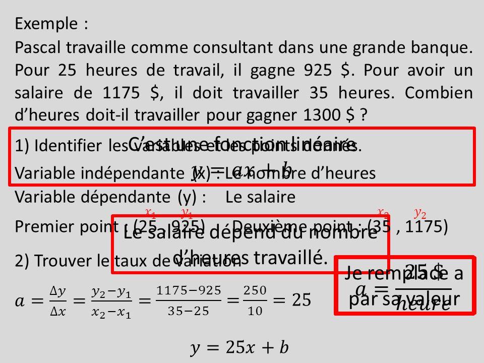 C'est une fonction linéaire 𝑦=𝑎𝑥+𝑏