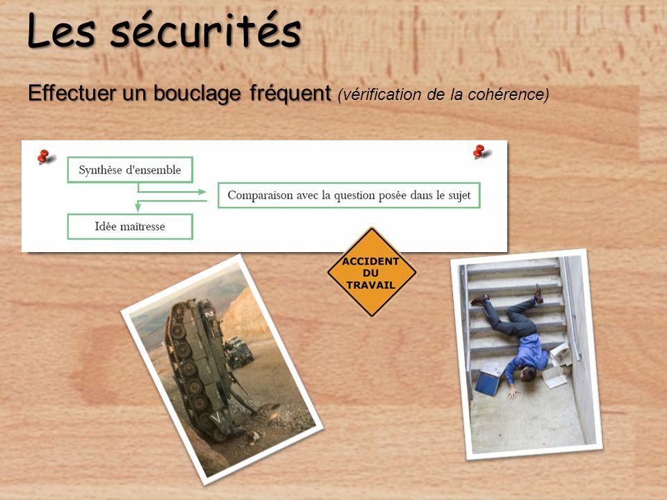 Les sécurités Effectuer un bouclage fréquent (vérification de la cohérence)