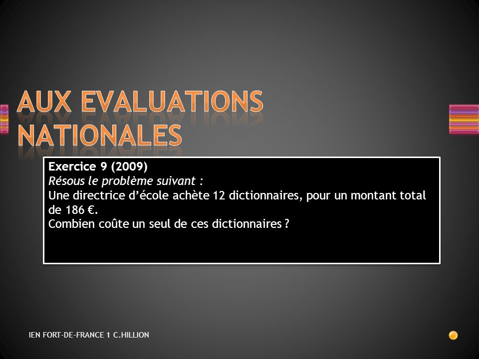 AUX EVALUATIONS NATIONALES