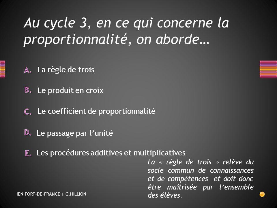 Au cycle 3, en ce qui concerne la proportionnalité, on aborde…