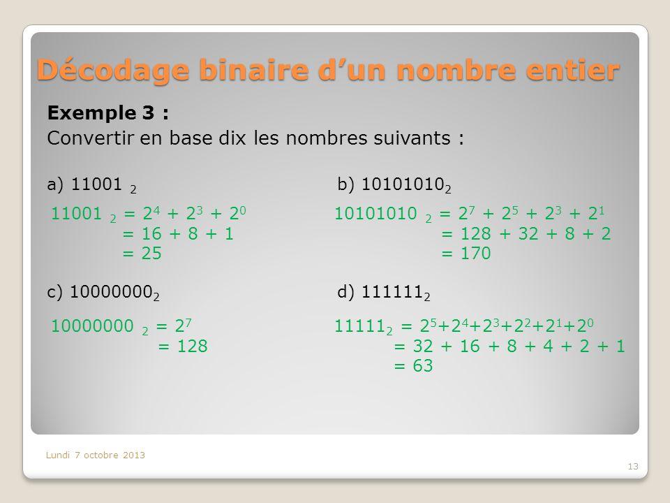 Décodage binaire d'un nombre entier