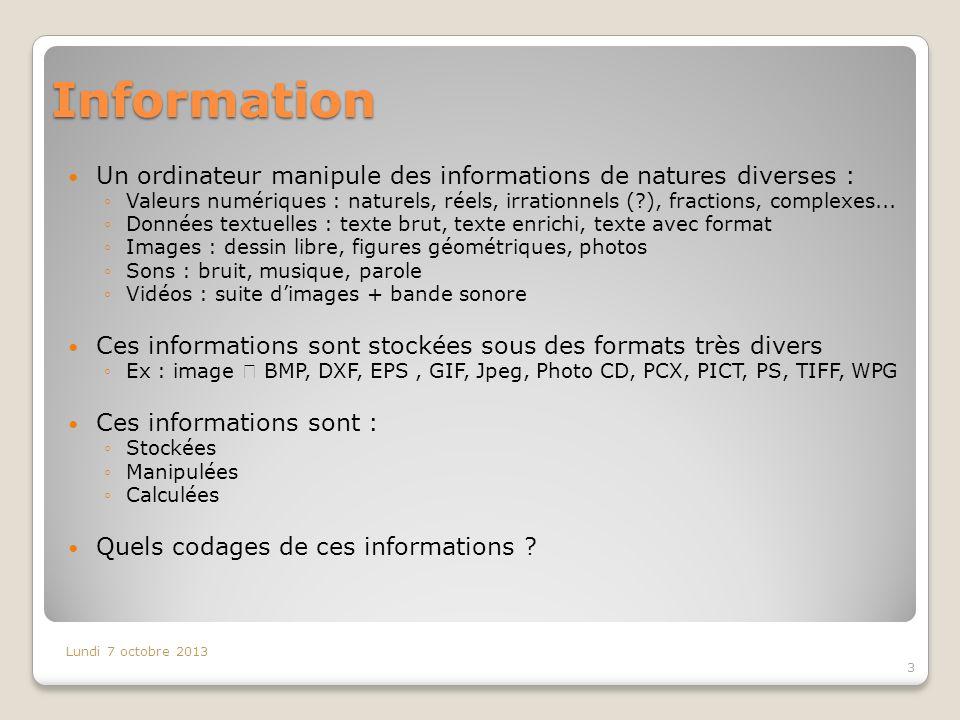 Information Un ordinateur manipule des informations de natures diverses :