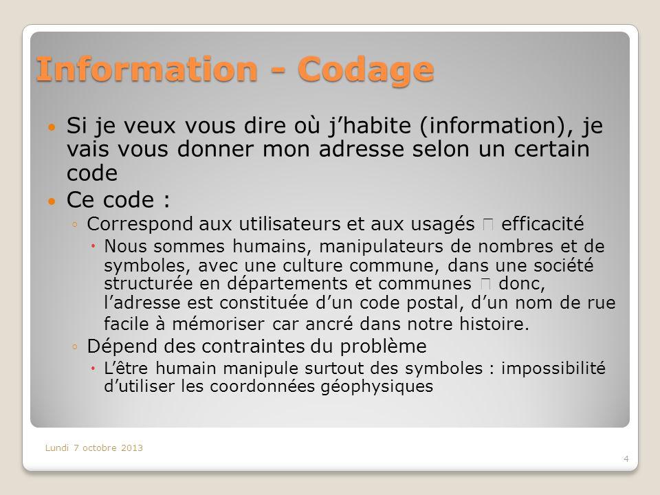 Information - Codage Si je veux vous dire où j'habite (information), je vais vous donner mon adresse selon un certain code.