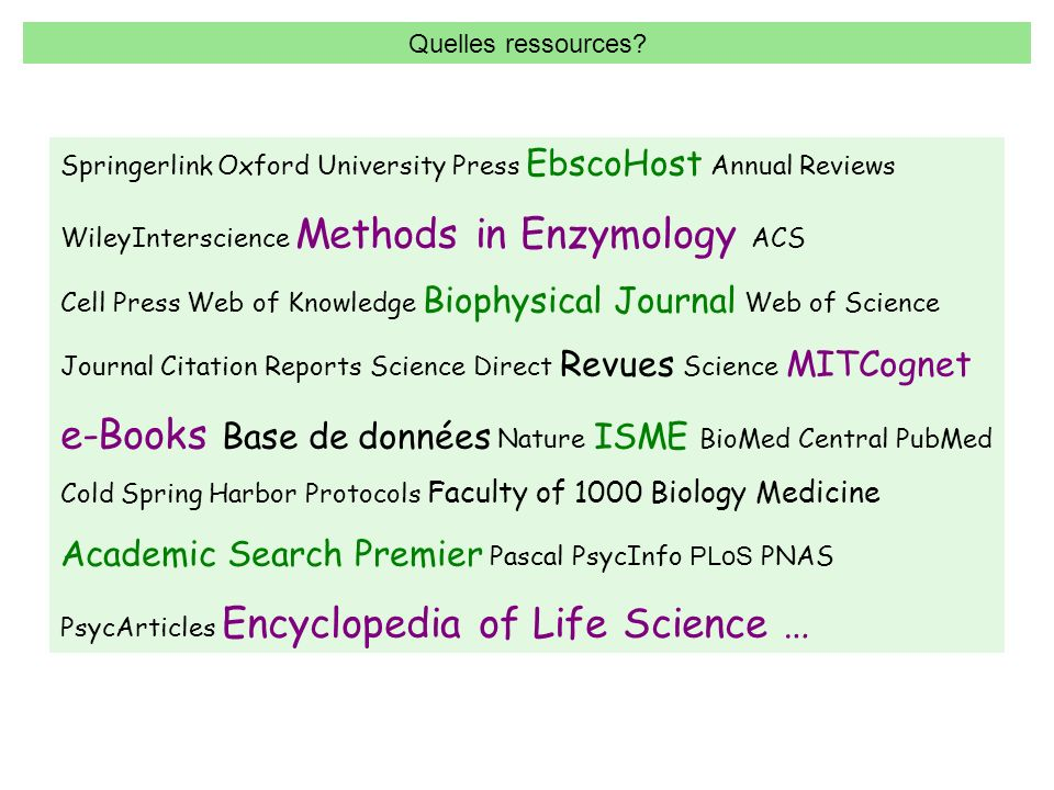 e-Books Base de données Nature ISME BioMed Central PubMed