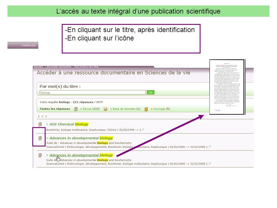 L'accès au texte intégral d'une publication scientifique