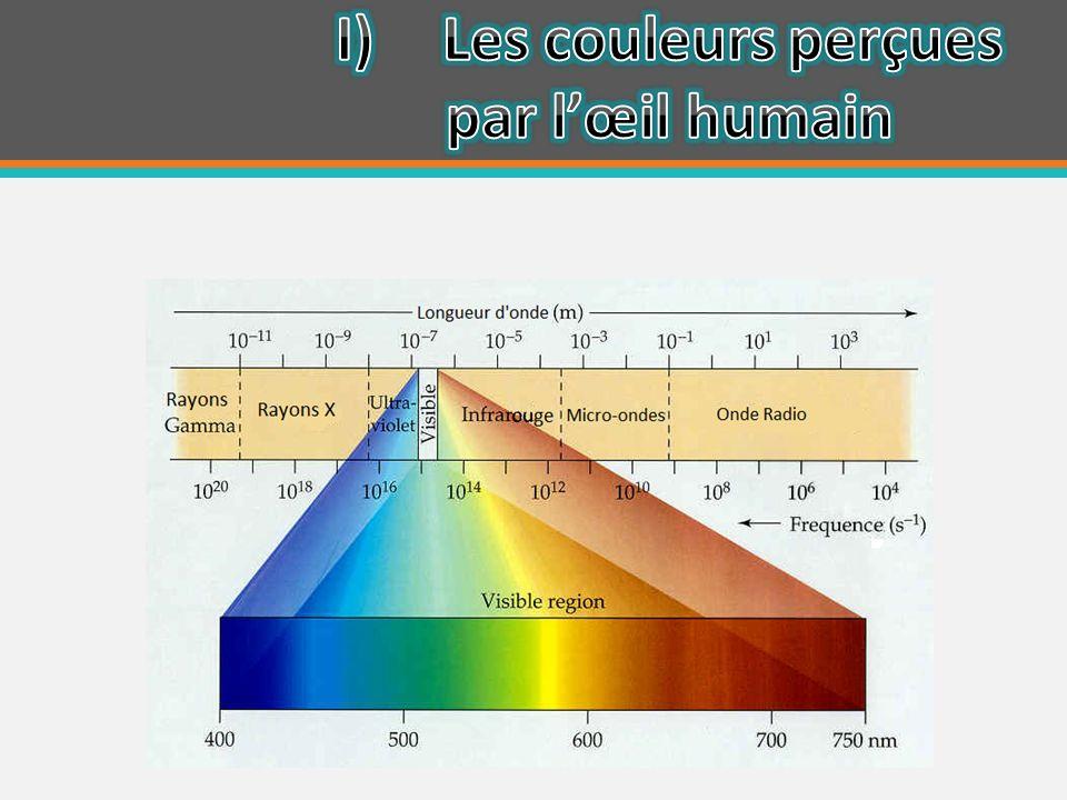 I) Les couleurs perçues par l'œil humain
