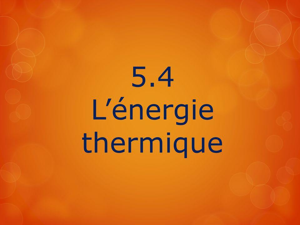 5.4 L'énergie thermique