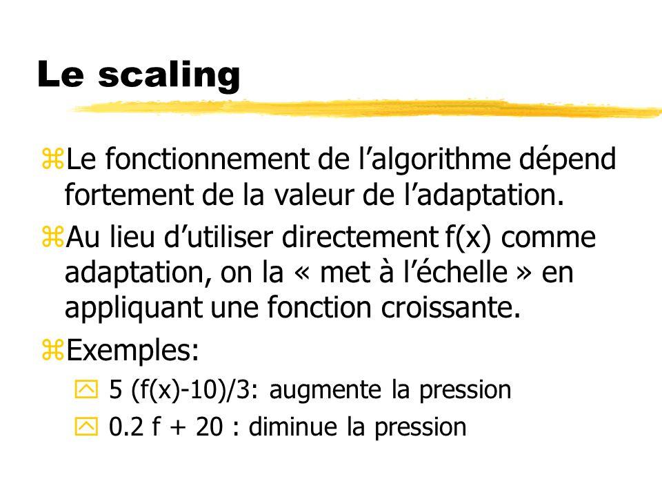 Le scaling Le fonctionnement de l'algorithme dépend fortement de la valeur de l'adaptation.