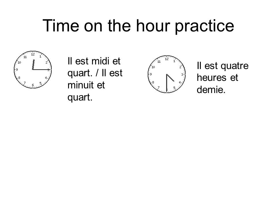 Time on the hour practice