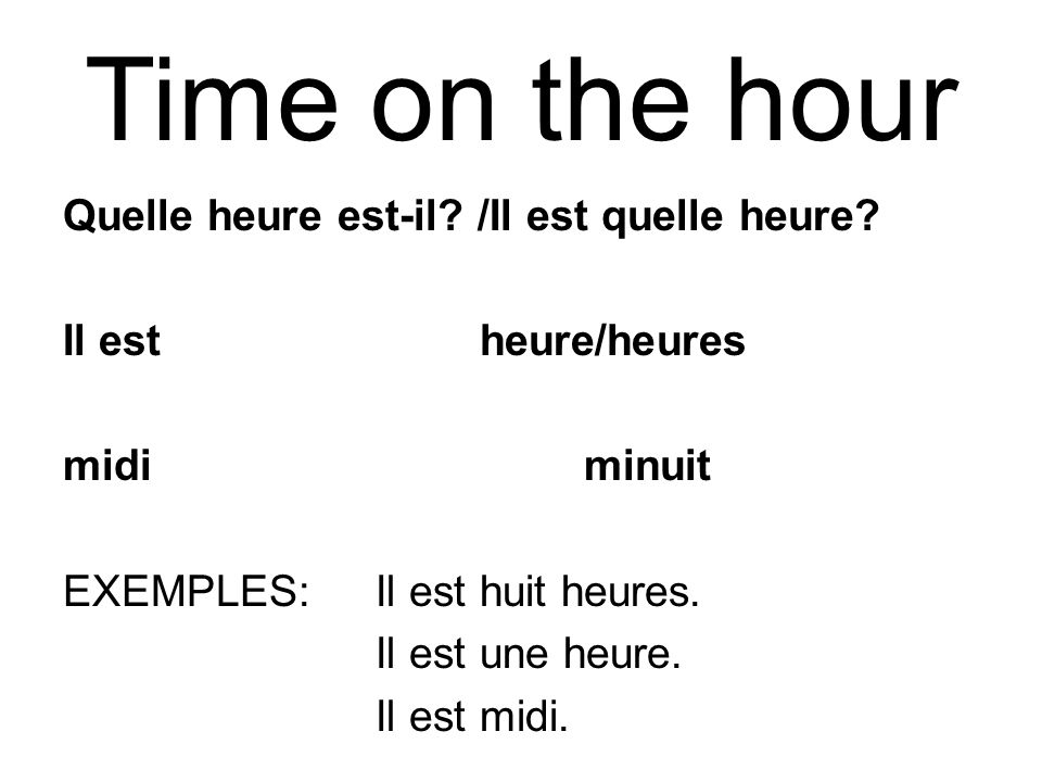 Time on the hour