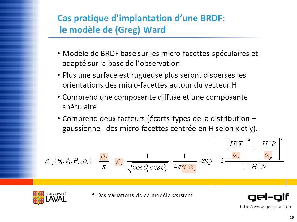 Cas pratique d'implantation d'une BRDF: le modèle de (Greg) Ward
