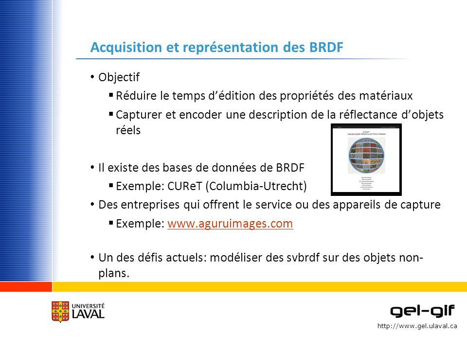 Acquisition et représentation des BRDF
