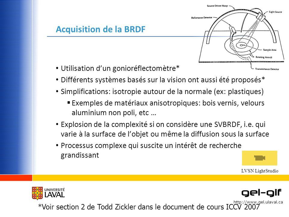 Acquisition de la BRDF Utilisation d'un gonioréflectomètre*